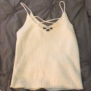 American Eagle White Ribbed Strappy Tank Top